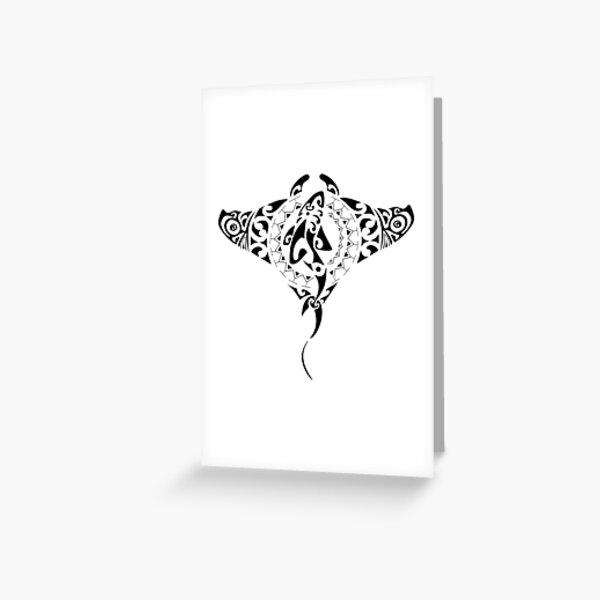 Tribal Manta Ray - Shark Greeting Card