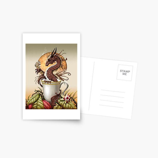 Hot Chocolate Dragon in cup Postcard