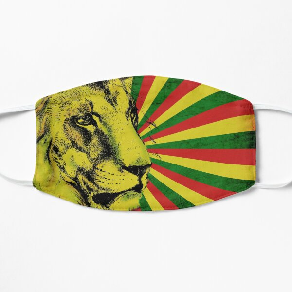 Rasta Lion / Rastafarian Red Gold And Green Lion  Flat Mask