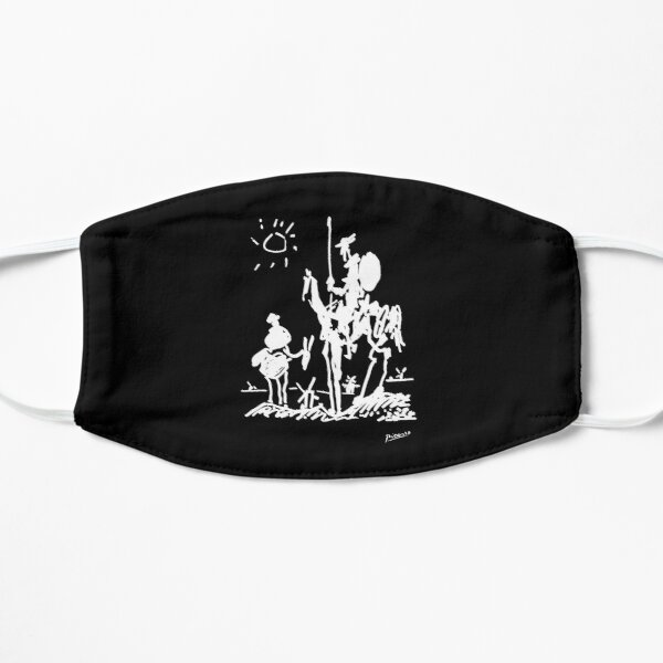 Pablo Picasso Line Art Don Quixote on Horse with sun Artwork Sketch black and white Hand Drawn ink Silhouette Black Background HD High Quality Mask