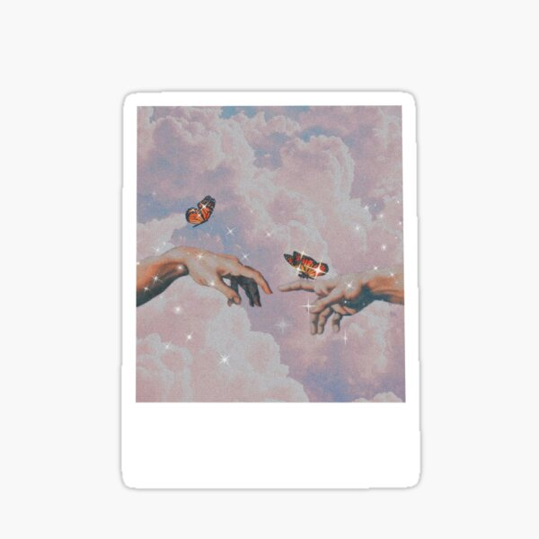 Aesthetic hands with butterflies Polaroid sticker Sticker