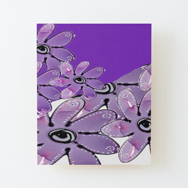 Purple Multi Floral Wood Mounted Print