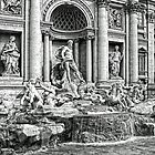 Trevi Fountain B&W by Tom Gomez