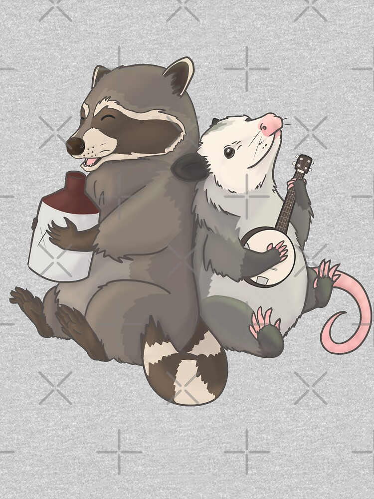 Opossum and a Racoon playing instruments by Mehu