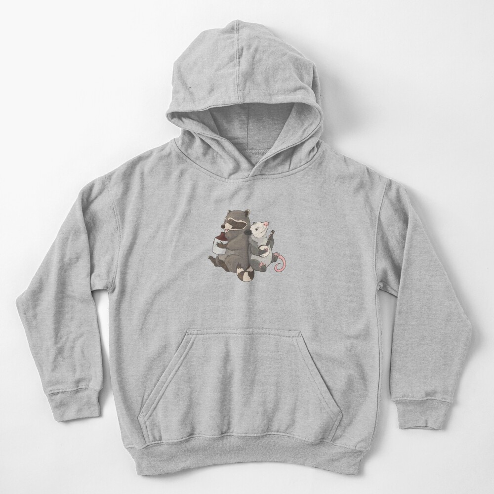 Opossum and a Racoon playing instruments Kids Pullover Hoodie