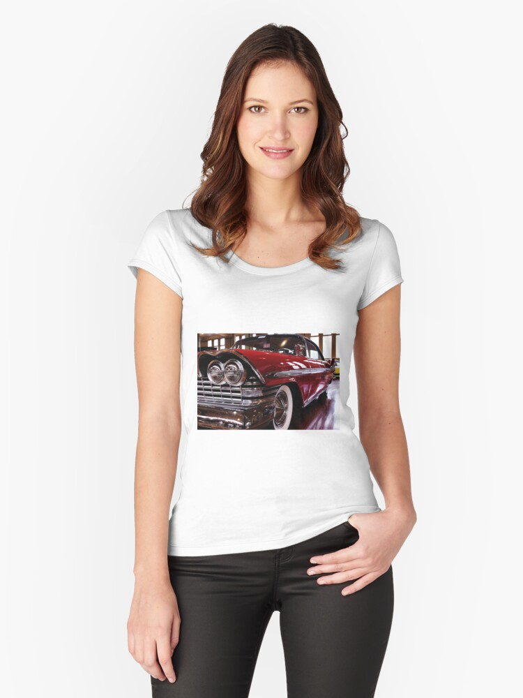 Red Plymouth Fury. Women's Fitted Scoop T-Shirt Front