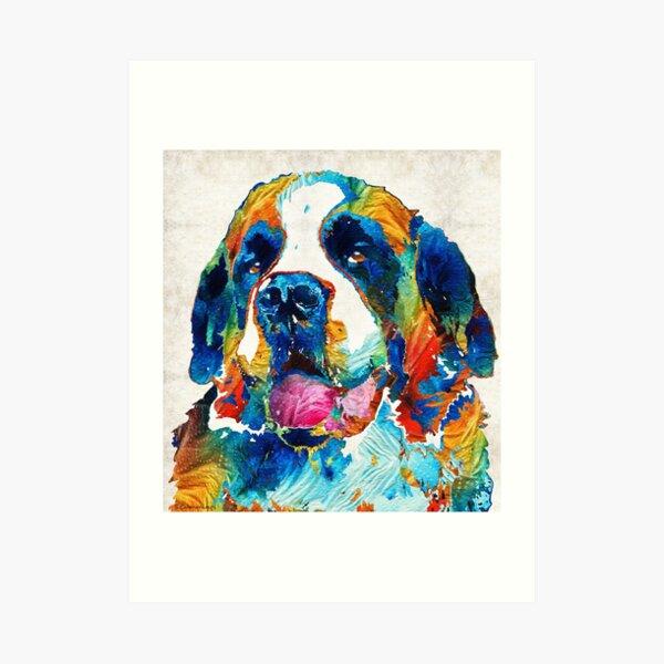 Colorful Saint Bernard Dog by Sharon Cummings Art Print