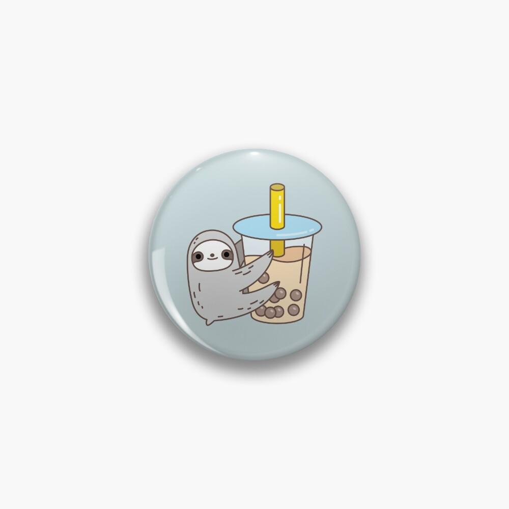 Sloth Loves Bubble Tea Pin