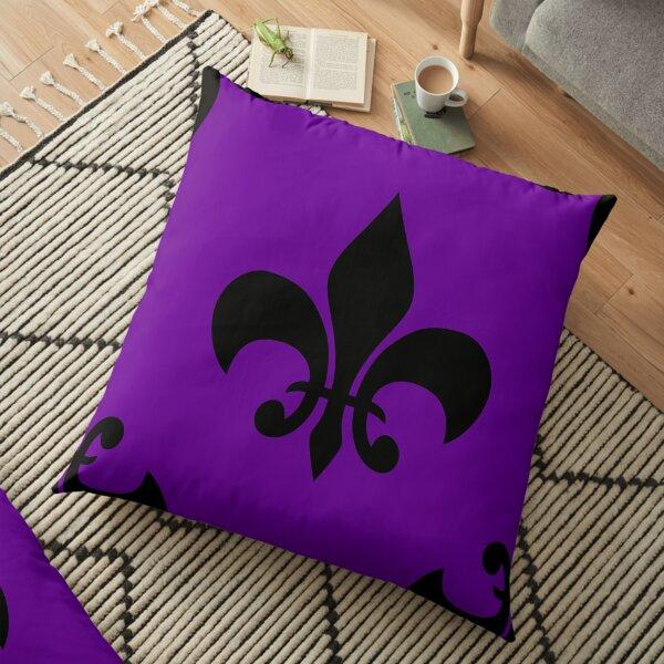 purple black fleur de lis Floor Pillow