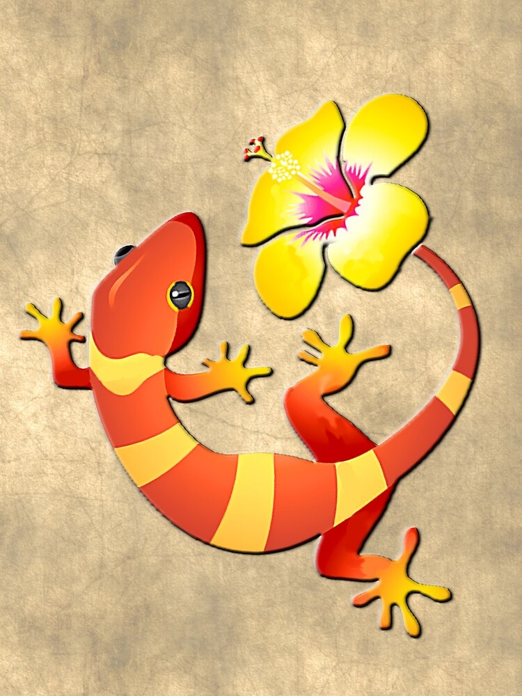 Orange and Yellow Jungle Lizard with Yellow Hibiscus/BACKGROUND by Elaine Plesser