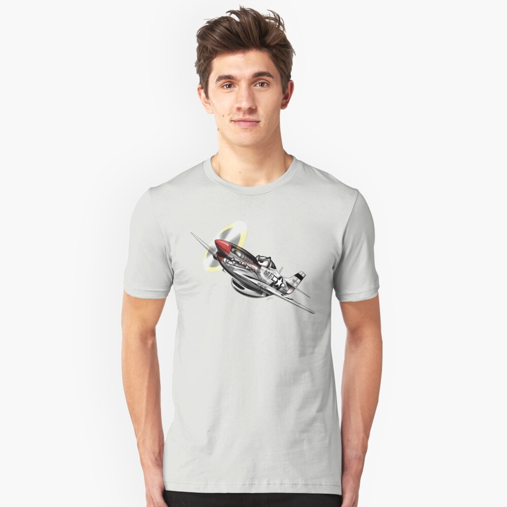 WW-II Warbird P-51 Mustang Airplane Cartoon Slim Fit T-Shirt