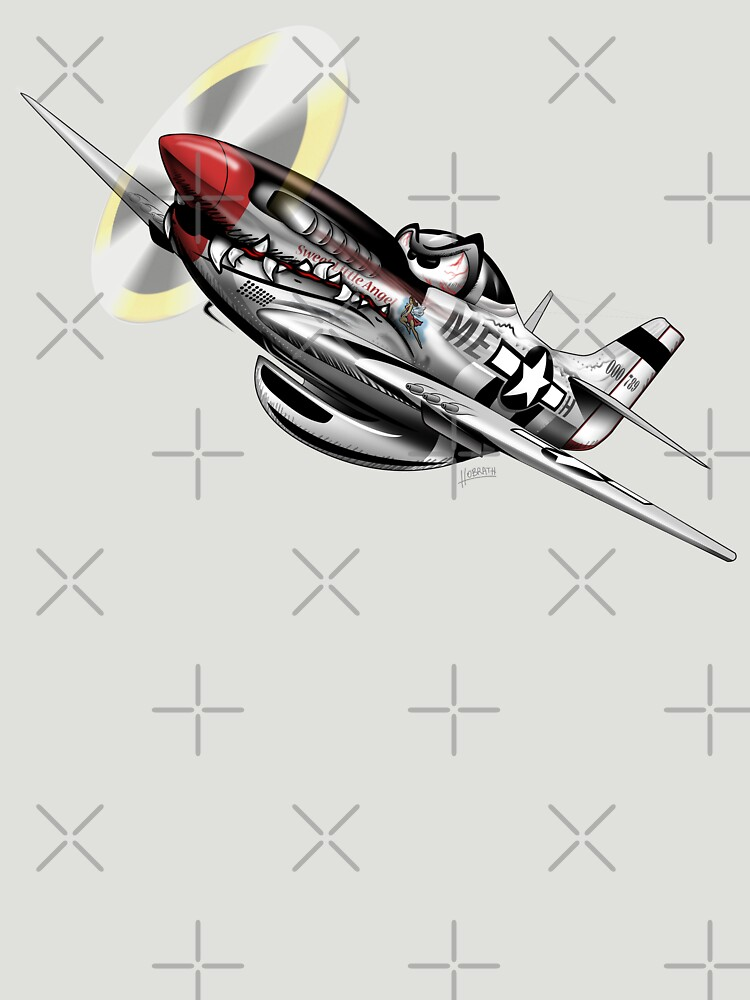 WW-II Warbird P-51 Mustang Airplane Cartoon by hobrath
