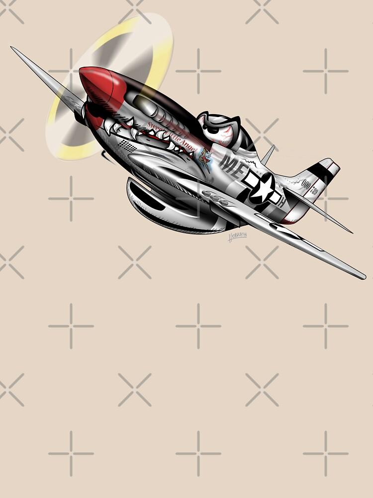 WW-II Warbird P-51 Mustang Airplane Cartoon by hobrath