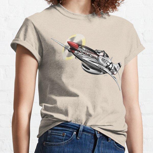 WW-II Warbird P-51 Mustang Airplane Cartoon Classic T-Shirt