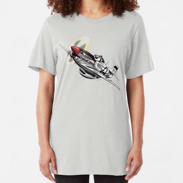 WW-II Warbird P-51 Mustang Airplane Cartoon Slim Fit T-Shirt