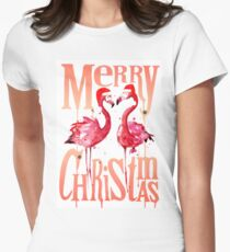 Christmas Flamingos Women's Fitted T-Shirt