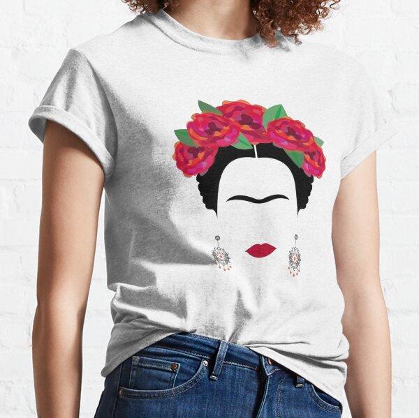 Frida Kahlo front sourcils et boucles d'oreilles T-shirt classique