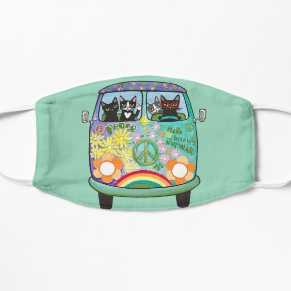 Peace and Love Hippie Road Trip Cats Flat Mask
