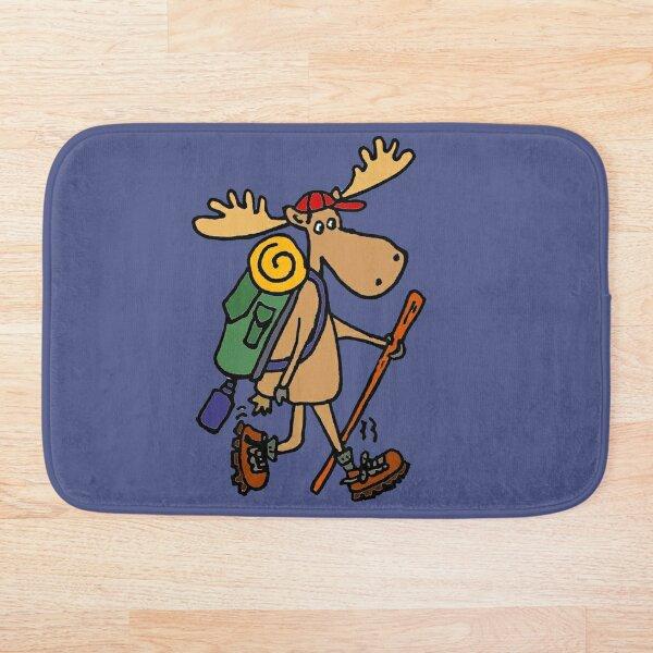 Funny Cool Moose Hiker Bath Mat