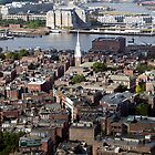 Arial view of Boston's North End and the Tobin Bridge by John Gaffen