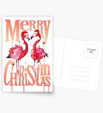 Christmas Flamingos Postcards