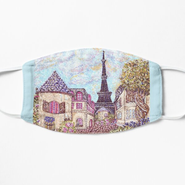 Paris Eiffel Tower inspired pointillism landscape by Kristie Hubler Mask