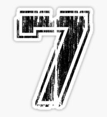 Bold Distressed Sports Number 7 Sticker