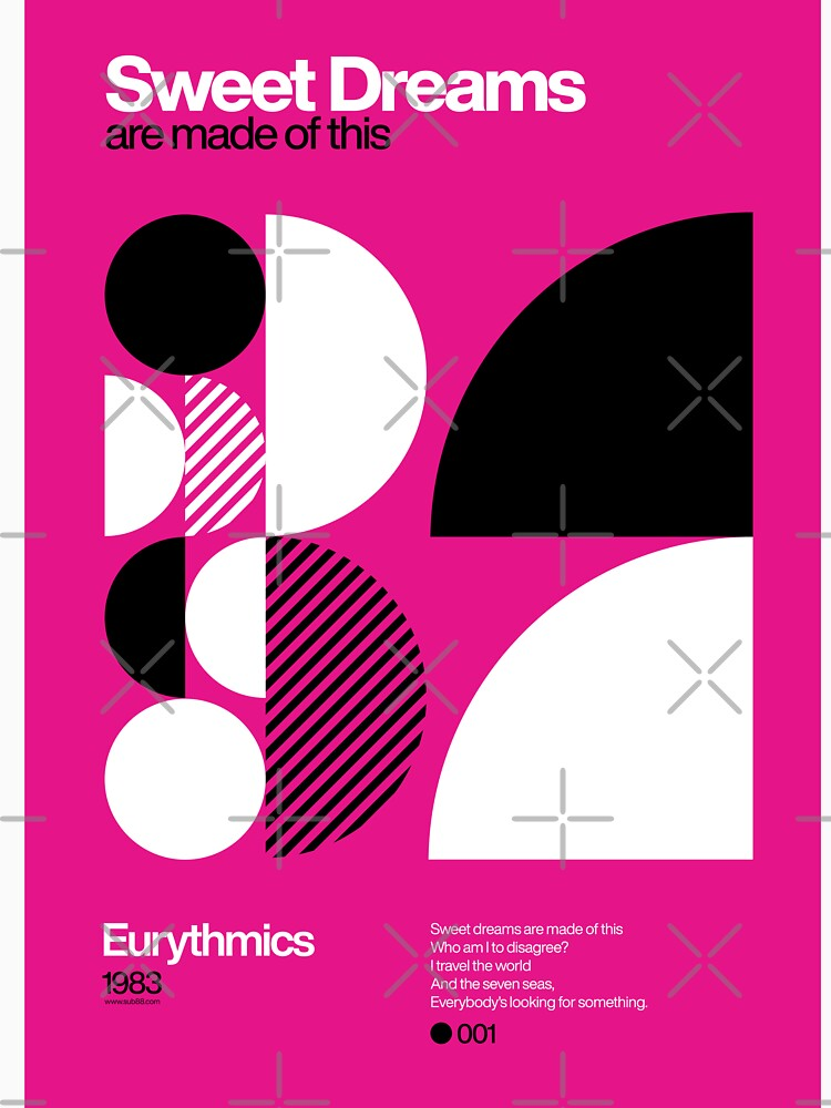 Sweet Dreams (Are Made of This) - Eurythmics Typographic Poster by sub88
