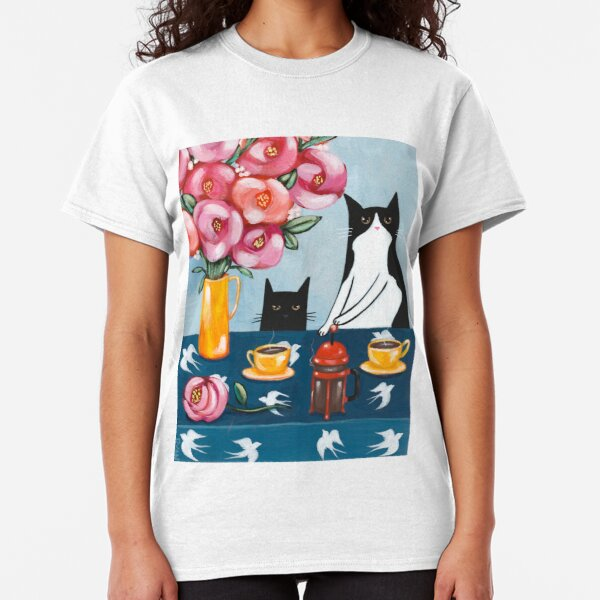 French Press Coffee Cats Classic T-Shirt