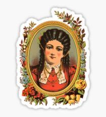 Vintage kitsch lady with black hair Sticker