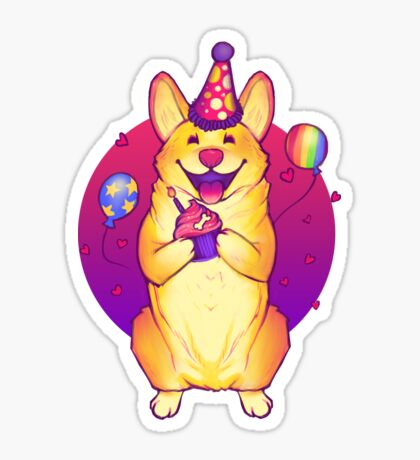 Birthday Corgi! Sticker