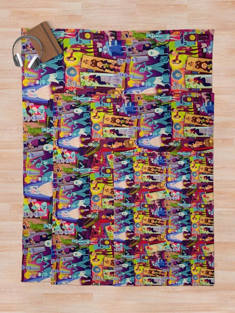 Alternate view of Retro Mansion Collage Throw Blanket