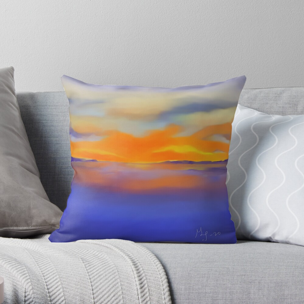 Sunset at the Lake 1 Throw Pillow