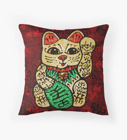 'Shiny Lucky Cat' Throw Pillow