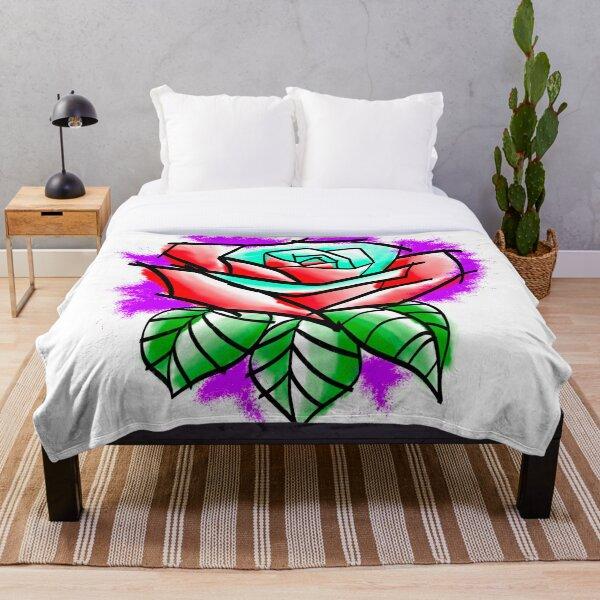 Watercolor Rose Sketch Throw Blanket