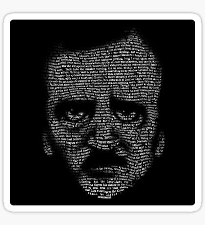 Edgar Allan Poe Nevermore Text Portrait Sticker