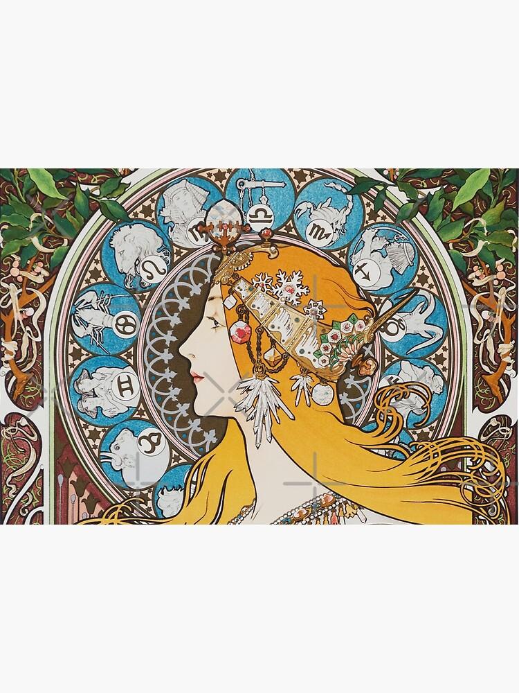 Alphonse Mucha Zodiac calendar for La Plume 1897 vintage Art Nouveau Zodiac long hair woman HD by iresist