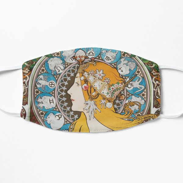 Calendrier zodiacal Alphonse Mucha pour La Plume 1897, femme, cheveux longs zodiacaux Art Nouveau HD Masque taille M/L
