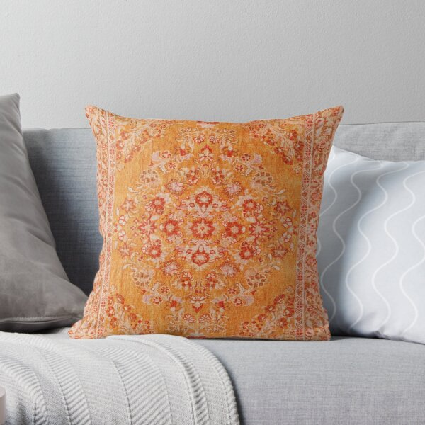 Orange Bohemian Berber Traditional Moroccan Style Design Throw Pillow