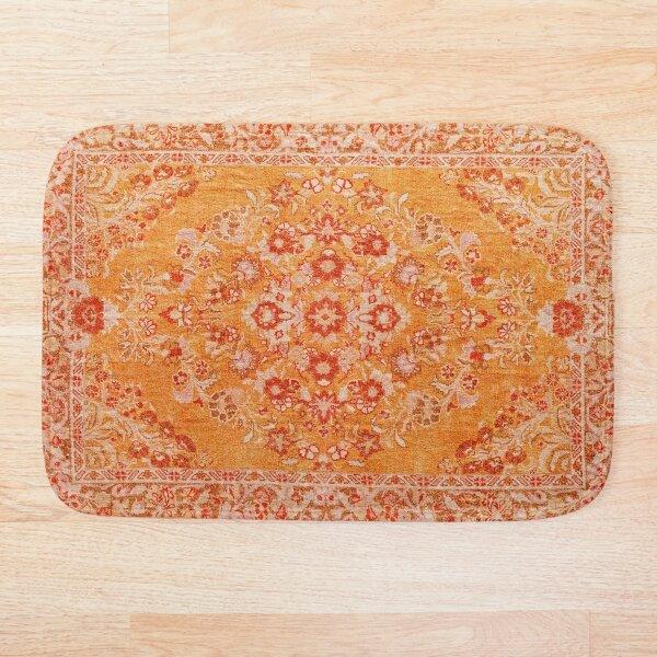 Orange Bohemian Berber Traditional Moroccan Style Design Bath Mat