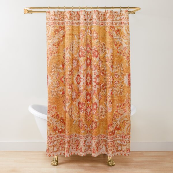 Orange Bohemian Berber Traditional Moroccan Style Design Shower Curtain