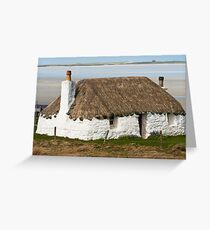 Building, Cottage, Thatched, White walls Greeting Card