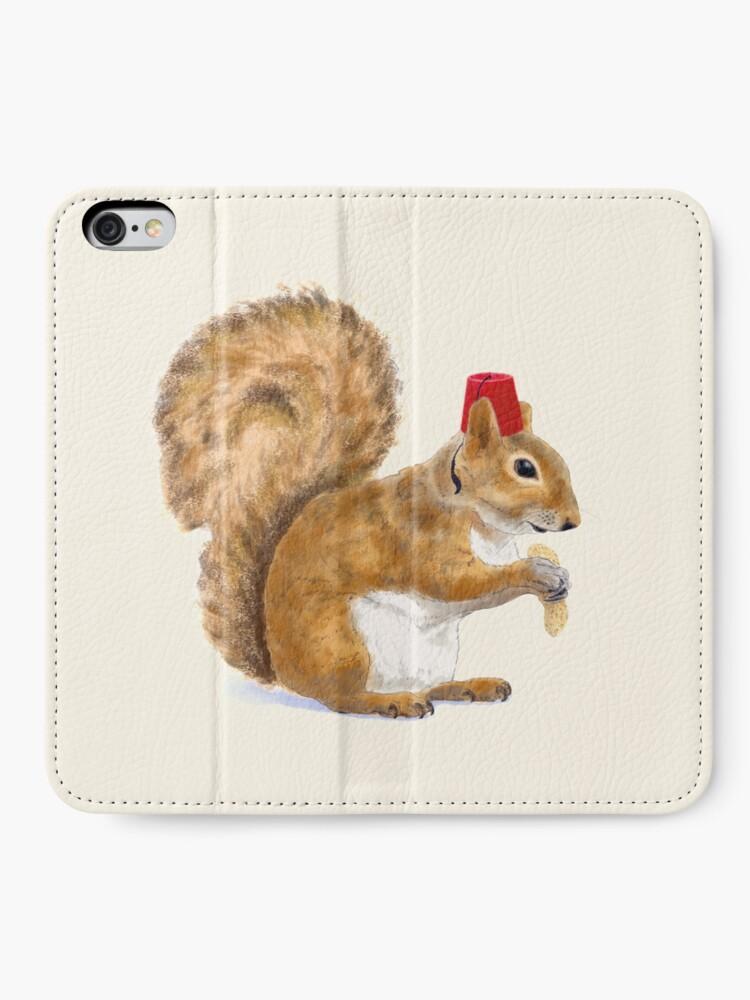Alternate view of Fez Hat Squirrel iPhone Wallet