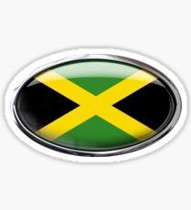 Jamaica Flag Glass Oval Die Cut Sticker Sticker