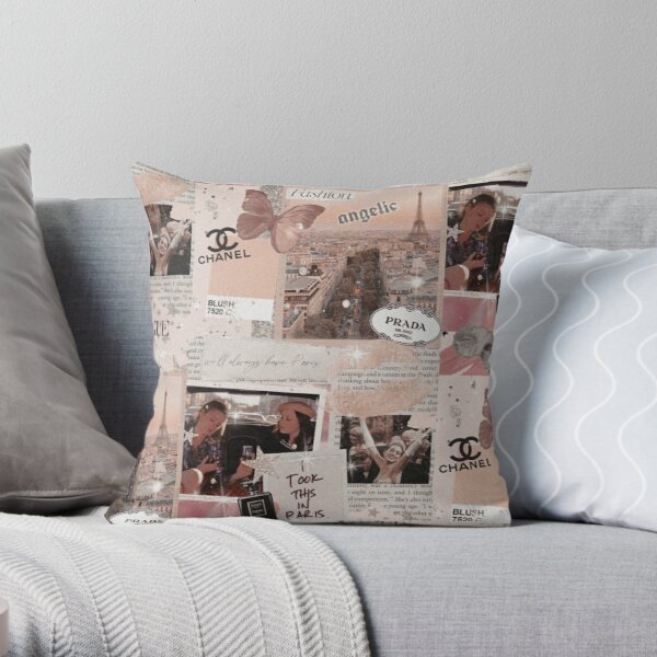 aesthetic fashion collage Throw Pillow