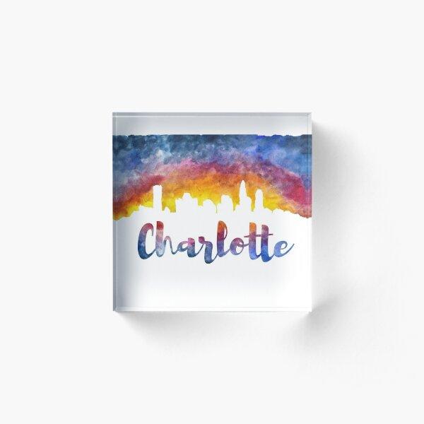 Charlotte Cityscape - Reverse Silhouette  Acrylic Block
