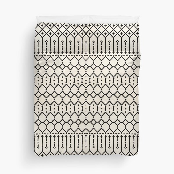 Farmhouse B&W Traditional Moroccan Style Pattern Duvet Cover