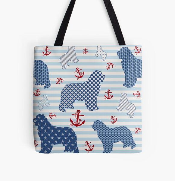 Nautical Newfie Pattern All Over Print Tote Bag