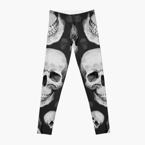 3D Look Skull Black and White Skulls Leggings