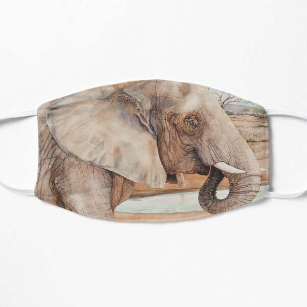 African Elephant Watercolor Mask